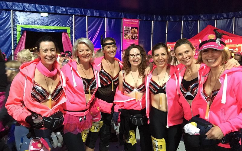 We stitched 7 bras for 'the moon walk london' in aid of breast cancer.